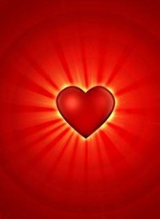 Red heart glowing with appreciation.