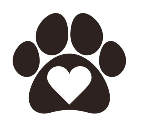 paw print with heart in center